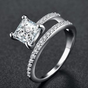 CZ Crystals Silver Ring New